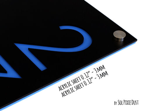 Sign Plaque Black Acrylic with Blue Acrylic Modern House Numbers Vertical 4