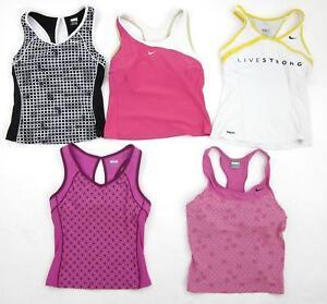 Five (5) Nike Yoga Running Gym Workout Bra Tops Tanks Black Pink Size Small