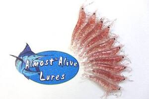 """Almost Alive Lures Artificial Soft Plastic 3-1/4"""" Shrimp Unrigged Red Flake (10)"""