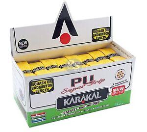 Squash or Badminton Length 2 x Karakal Super PU Replacement Grips Yellow