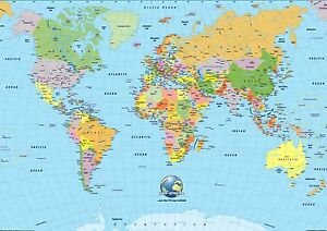 Background effect a4 cake topper icing sheet world map globe image is loading background effect a4 cake topper icing sheet world gumiabroncs Gallery