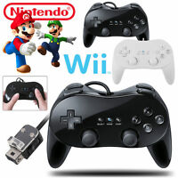 Classic Pro Remote Wired Game Controller For Nintendo Wii Black And White