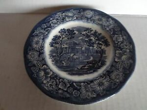 LIBERTY-BLUE-VINTAGE-MADE-IN-ENGLAND-6-039-039-CAKE-PLATE
