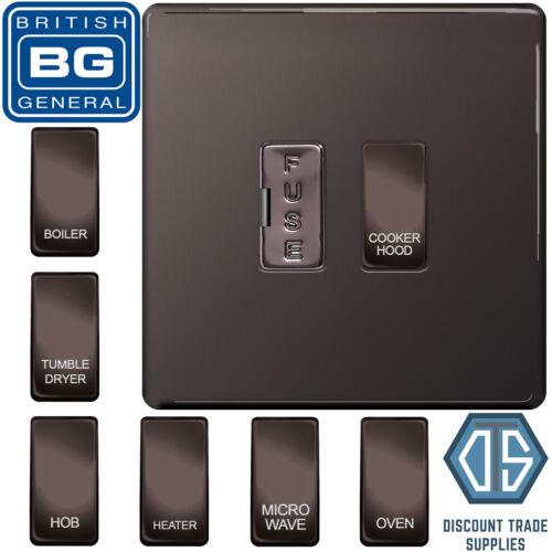 BG Black Nickel Screwless Fused Switch Choix d/'Appliance étiqueté Custom