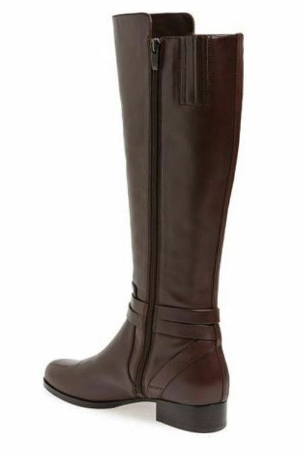 Via Spiga Prish Women's Belted High Shaft Brown Leather Leather Leather Riding Boots 1e0faa