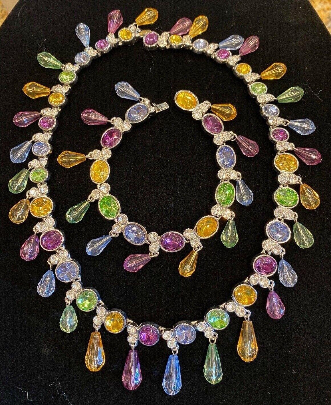 Vintage Arnold Scaasi Multi Color Crystal Necklac… - image 2