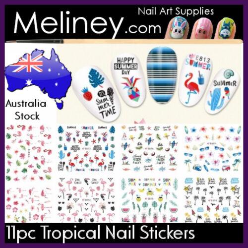 11pc Tropical Nail Art Stickers Sets Nautical Beach Ocean Mermaid Fish Dolphin