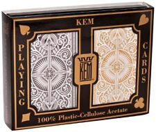 Kem Arrow Poker Size Playing Cards 2 Deck Set Black and Gold Wide Jumbo Index