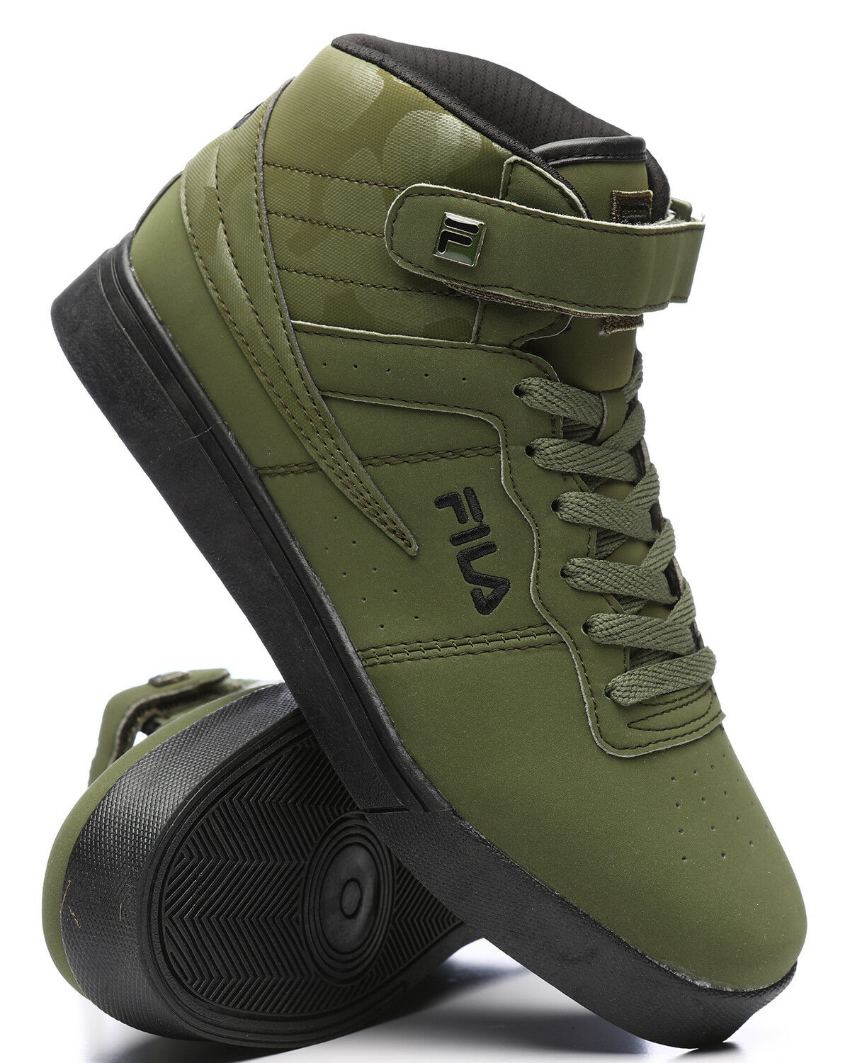 NEW 2018 MEN'S FILA VULC 13 MID PLUS GREEN BLACK CAMO CLASSIC HIGH TOP SNEAKERS