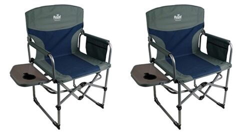 Camping Caravan Campervan Tent Compact Director/'s Chair with Table Blue//Silver