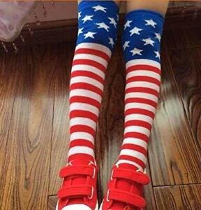 Girls Knee High Long Socks USA American Flag Stars Stripes Patriotic