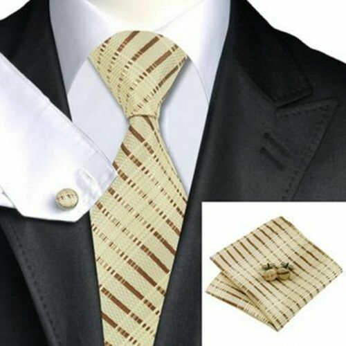 Jason /& VOGUE Designer corbatas-set en beige con rayas marrones