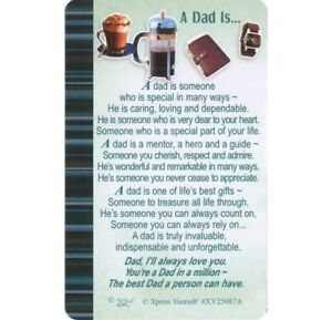 Image Is Loading WALLET CARD A DAD IS Keepsake Sentimental Verse