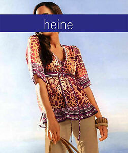 Tuniken-Bluse-Shirt-Top-orange-bordeaux-bunt-Heine-Gr-40-NEU-Polyester-038
