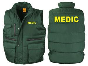 First Responder Gilet Imbottito Gilet Verde Bottiglia Stampato Ambulanza Giacca Cappotto