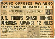 US Troops Smash Rommel Defenses. Advance 12 Miles. Kiska 31 March 1943 BNP