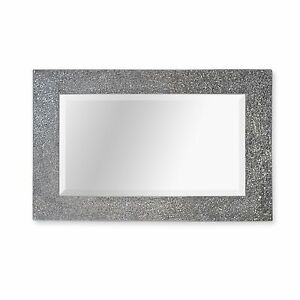 Large silver sparkle mosaic mirror silver crackle frame for Mirror 60cm x 80cm