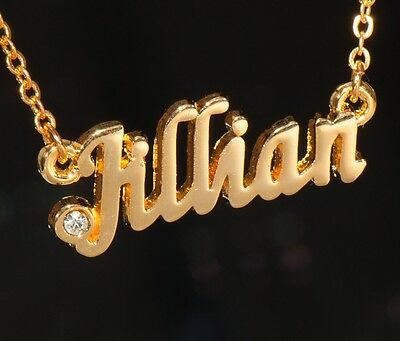 JILLIAN Name Necklace with Rhinestone Gold or Silver Tone
