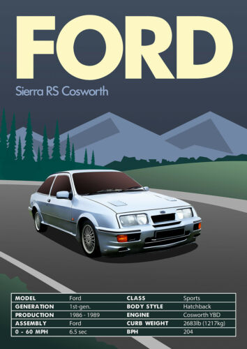 Vintage Print Ford Sierra RS Cosworth  Wall Art Retro Classic Car Classic