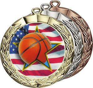 Basketball-AMT-206FS-Bright-Gold-Silver-Bronze-Medal-Award-Trophy-Trophies