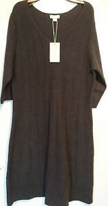 Monsoon-Faye-Oriental-Promise-Charcoal-Knitted-Dress-Uk-18-Bnwt-Fit-And-Flare