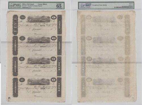 1810/'s Cincinnati $1//$2//$3//$5 Post Note 4 Note Uncut Sheet PMG 65 Gem Unc EPQ