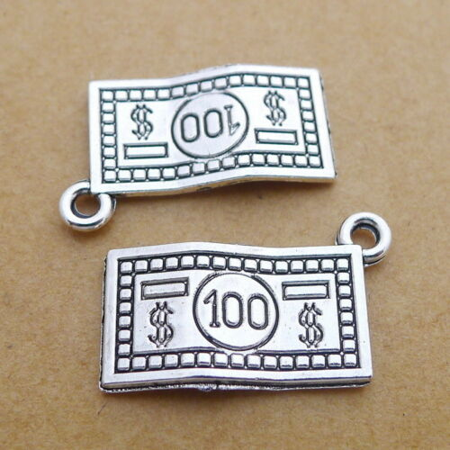 10pcs Charms Dollar Bill Antiqued Silver Beads Pendant DIY 13*21mm