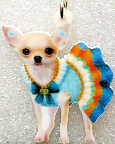 Details about  /Chihuahua Blue Dress Realistic Acrylic Double-Sided Silver Hook Earrings Jewelry