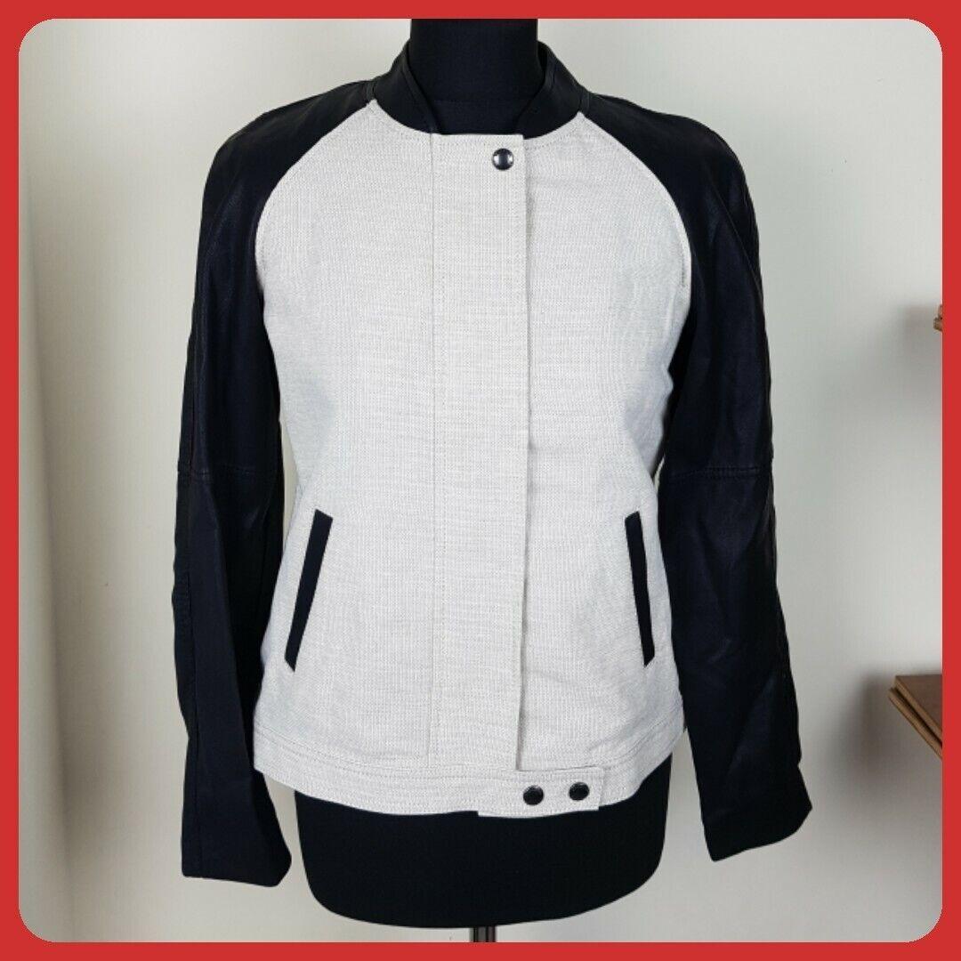 BANANA REPUBLIC Petite bomber style jacket size 6P black faux leather arms