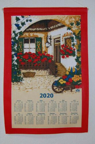 Stoffkalender Geranien mittel 2020 Stoffwandkalender Kalender Stoff 24m mit Stab