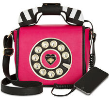 Betsey Johnson Phone Telephone Bag Kitsch Call Me Pink Shoulder Crossbody New
