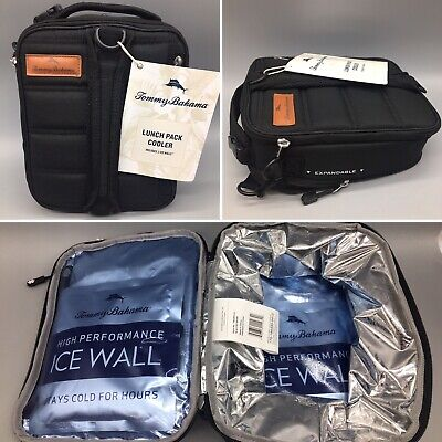 Tommy Bahama Expandable Lunch Box Pack Cooler w// 2 Ice Walls Grey Black Quilted