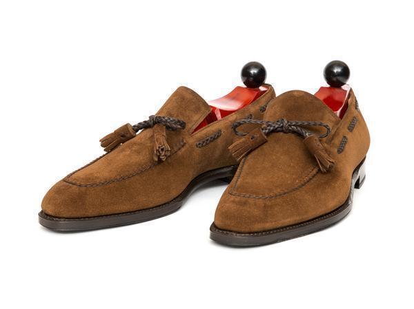 Handmade hommes En Daim marron Clair Cuir Pompons chaussures hommes Daim Mocassins chaussures