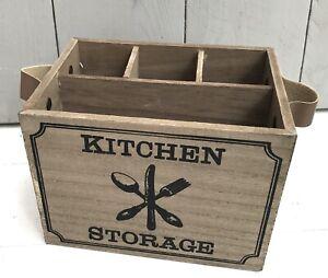 Besteckkiste-Serviettenhalter-Holz-natur-Kitchen-Storage-Shabby-Vintage