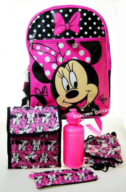 "Disney Minnie Mouse Pink with White Polka Dots All Printed 16/"" School Backpack"