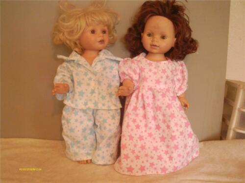 DOLL CLOTHES BITTY BABY TWIN SET BOY GIRL PAJAMA AND NIGHTGOWN SET STARS