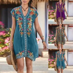 Women-039-s-Retro-V-Neck-Floral-Print-Casual-Loose-Beach-Bohemian-Mini-Maxi-Dress