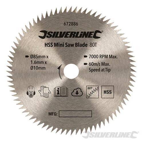 Lama HSS per sega mini  Silverline ø 85 mm 80 denti foro 10 mm