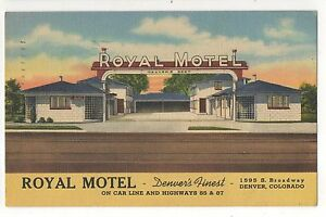 Royal-Motel-on-Car-Line-Broadway-DENVER-CO-Vintage-Colorado-Linen-Postcard