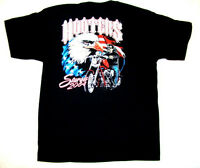 L Black Hooters Uniform Biker Sturgis Flag Eagle T Shirt Store Closed