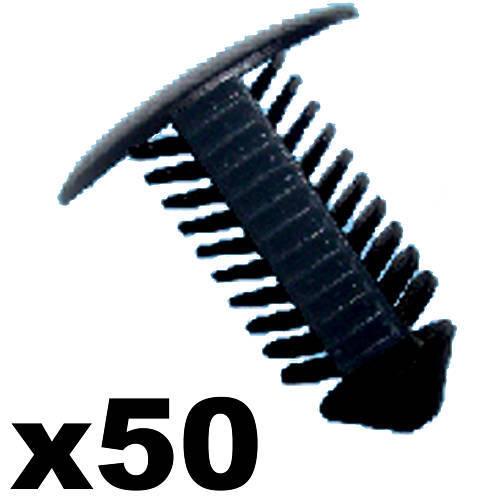 18mm Head Perfect for VW 50x Plastic Fir Tree Trim Clips 8mm Hole Black
