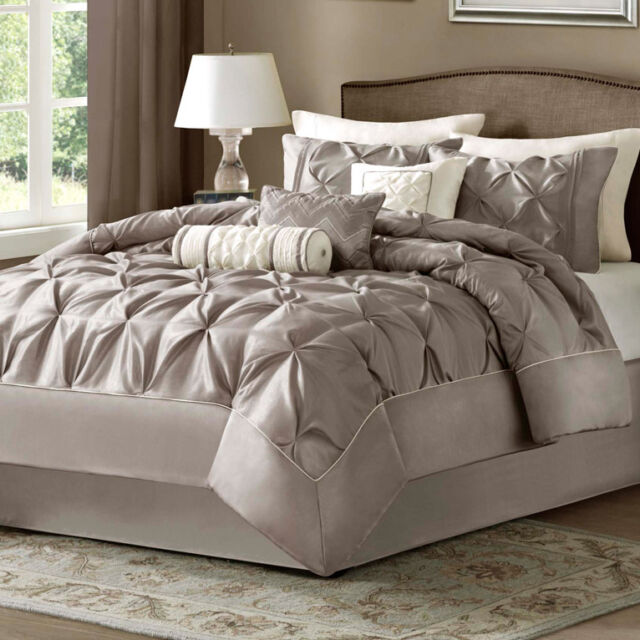 Taupe Bed Bag Luxury 7-Pc Comforter Set Cal King Queen Full Home Daybed Bedding