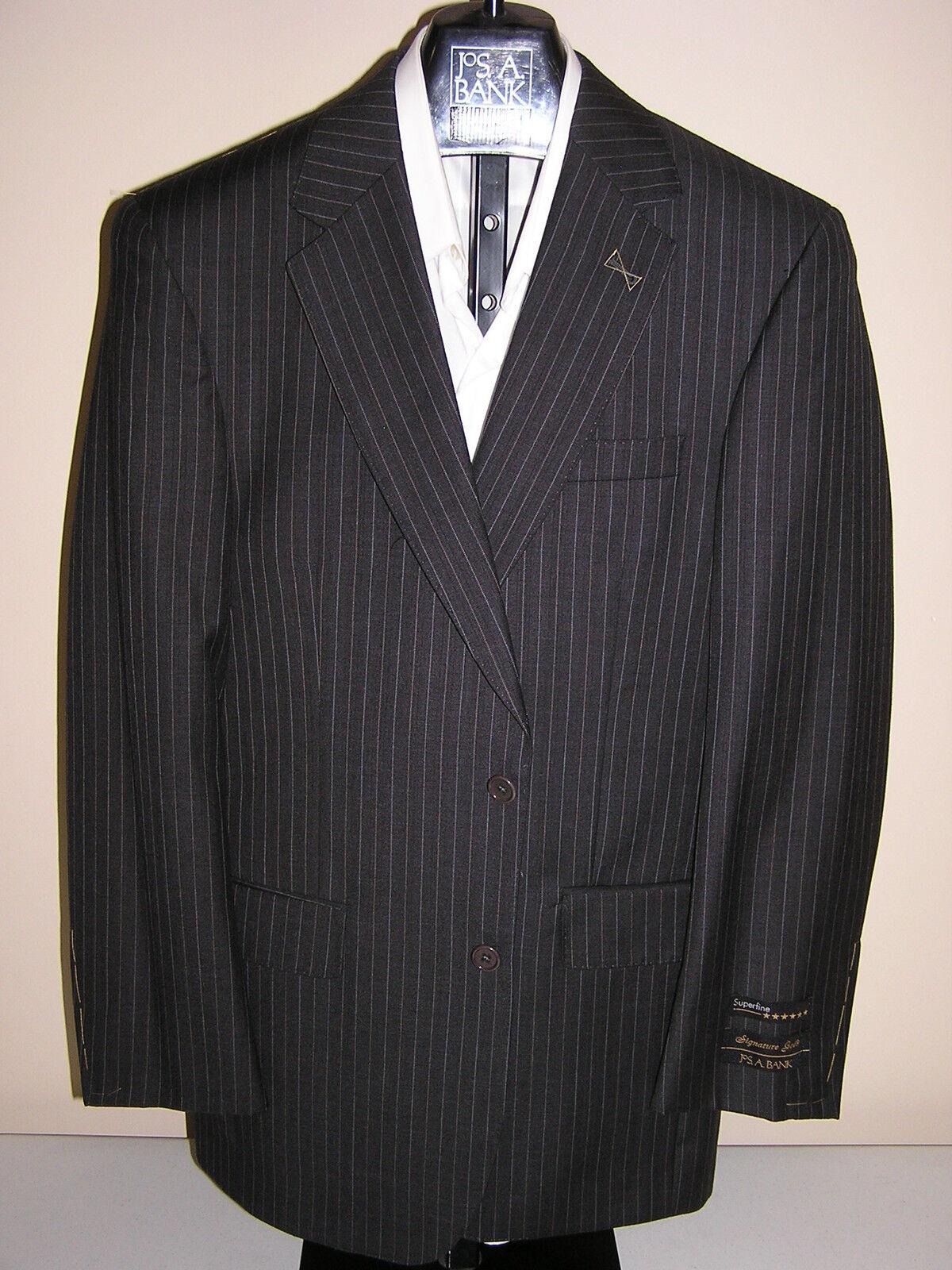 1295 new Jos A Bank Signature Gold  Grau stripe pattern 2 button suit 40 L 34 W