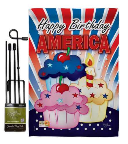 Details about  /American Cupcake Fourth July 4Th USA Happy Birthday Cake Garden House Yard Flag