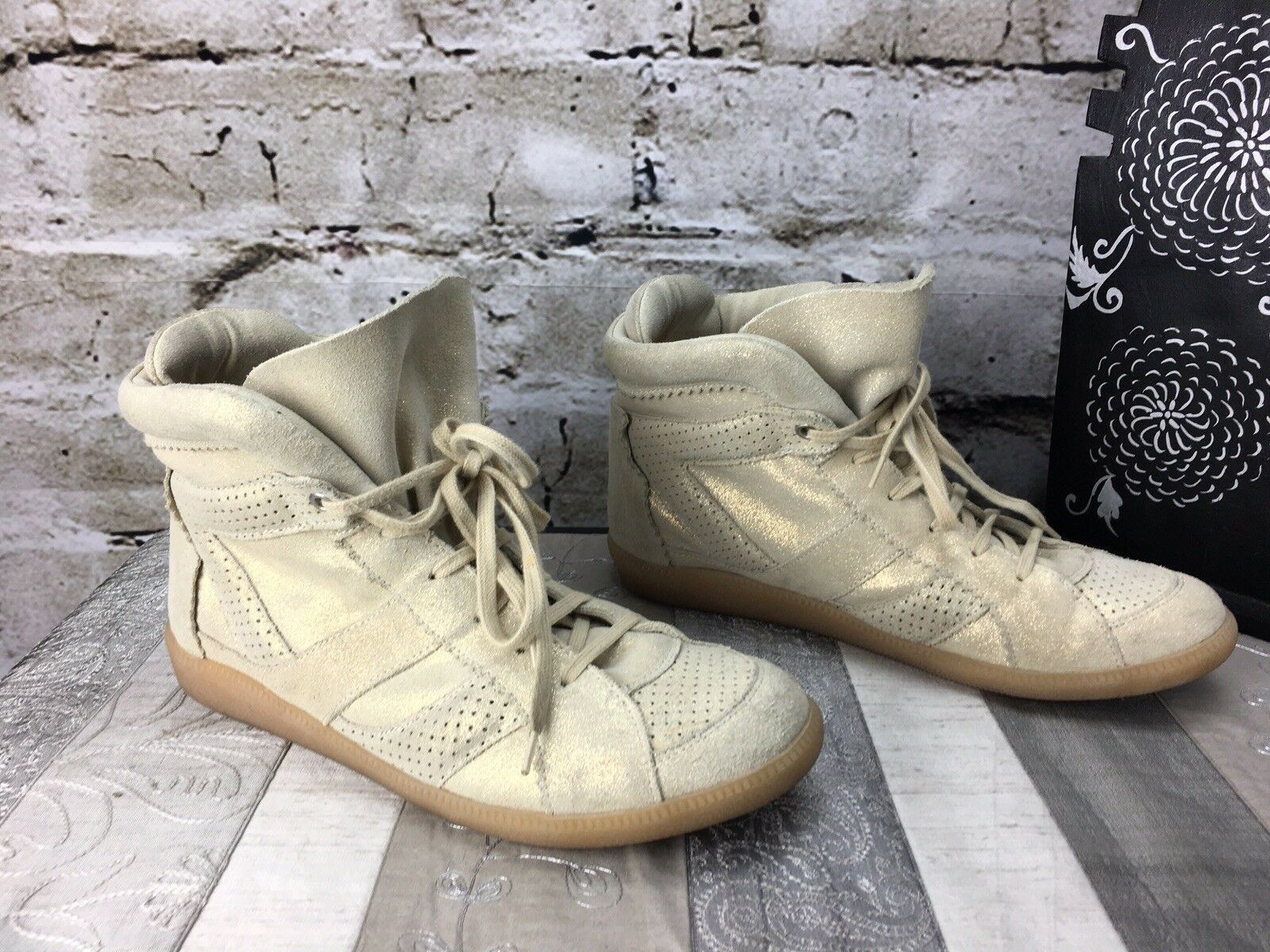 Zara Trafaluc 41 (US 9) Metallic Tan Glitter Suede Hi Top Leather Sneakers shoes