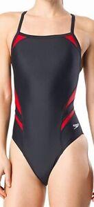 Speedo-Women-039-s-Swimwear-Black-Size-14-One-Piece-PowerFlex-Swimsuit-74-444