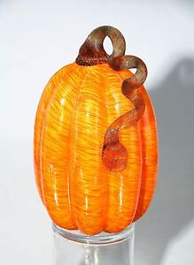 """New Large 9"""" Hand Blown Art Glass Orange Pumpkin Sculpture Figurine Harvest Fall"""