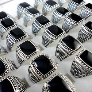 10pcs-Black-Enamel-Metal-Alloy-Rings-Wholesale-Jewelry