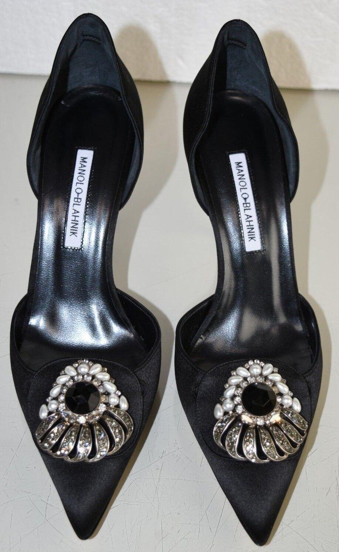 1245 Nueva perlas Manolo Blahnik Negro Satinado Enjoyado Dorsay perlas Nueva tacones Zapatos 41 81c5f1