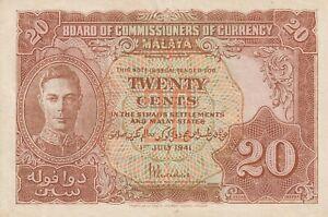 Vintage Banknote Malaya Straits Settlements 1941 20 Cents Pick 9a TDLR US Seller